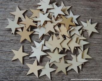 50 Small 1 inch Mini Wood Stars, Wood Confetti - Rustic Wedding Decor- Table Decorations- Wooden Stars-  DIY Craft Supplies 25mm Flag Making
