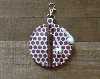 Brown Honeycomb Polka Dots - Circle Zip Earbud Pouch / Coin Purse / Pacifier Holder