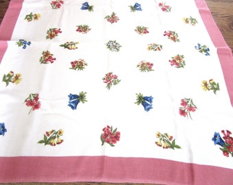 Small Printed Tablecloth Bridge Cloth Multicolor Florals 28 Inches Square Poly Cotton Rayon Blend