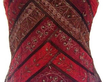 Beautiful Burgundy Red, Chocolate Brown & Gold Brocade Bustier Size UK 10