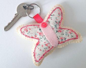 butterfly keyring/felt butterfly keyring/felt butterfly/butterfly gifts/new home gifts/pink gifts/gifts for her/felt animals/animal keyrings