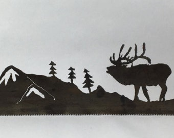 Metal Elk Bugling in Mountain Scene Plasma Cut by Hand Repurposed Hand Saw, Wall Decor, Art