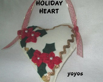 FELT POINSETTIA HEART Door Hanger Embellished Felt Pincushion Ornament