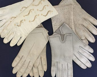 Set of 4 Vintage Leather Gloves, various sizes (most on the smaller size)