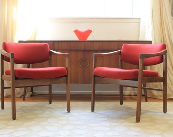 Pair of Danish Modern Walnut chairs, to be reupholstered in your choice of fabric