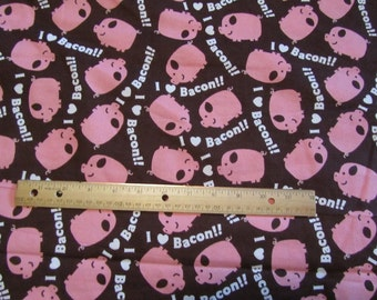 Brown Pig/I Love Bacon Flannel Fabric by the Yard