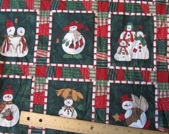 Green with Multicolored Snowmen Blocked  Fabric by the Yard