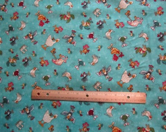 Blue Mouse/Chicken/Duck/Bird Henry Glass No Fowl Play Cotton Fabric by the Yard
