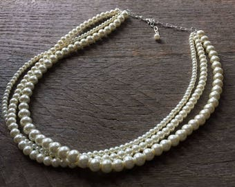 Ivory Pearl Necklace Multi Strand Bridal Necklace on Silver or Gold Chain