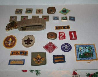 ON SALE!  Vintage Lot of 1960s - 1980s Cub Scouts, Webelos, Boy Scouts!  13 Patches, 12 Metal Badges / Other, 1 Belt!