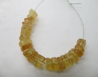 21 Pcs'  Stunning hand polished crystal shape Imperial champagne colored Topaz Beads strand Brazil T70