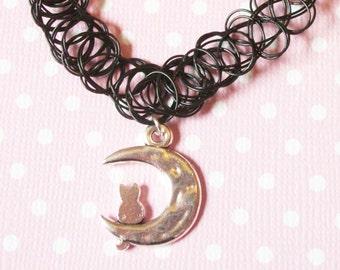 Cat On the Moon Black Tattoo Choker, Kawaii Pastel Goth 90s Tattoo Choker