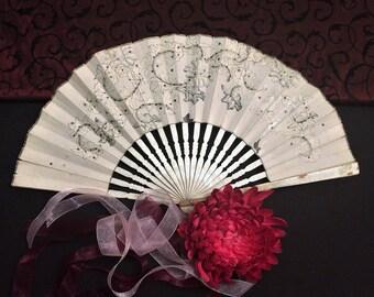 Antique c 1920s Hand Fan, Black and White Wood and Paper, Art Deco Art Nouveau Romantic Shabby Boho Cottage Chic Décor Vintage