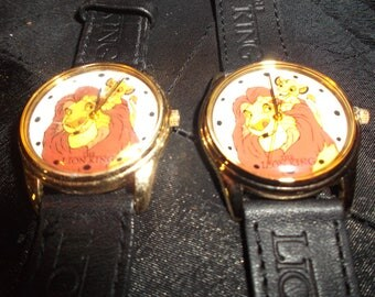 Lion King Watches, Set of 2, Collectible from 1994, Never worn, Disney watches, Fun, Eastman Kodak, Leather embossed straps, original box