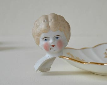 Antique Bisque Doll Head / Vintage Frozen Charlotte Doll Head / Antique Painted Doll Head / Excavated Painted Victorian Doll Head