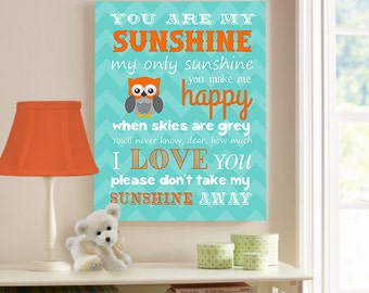 You Are My Sunshine Canvas Wall Art Orange and Teal Nursery or Kids Room Decor, Sunshine Lyrics, Owl Baby Boy Room Decor