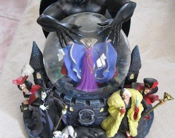 Disney Villains Snowglobe-Disney Collectible-The Evil Queen, Cruella De Vil, Jafar, Ursula, Captain Hook, and Malificent