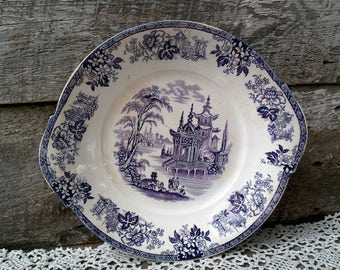 "Antique Purple Transferware Handled Plate, Cake Plate, 10"", Ironstone, Floral, 1800s, Mulberry, Plum Transferware, Display, Wall Decor"