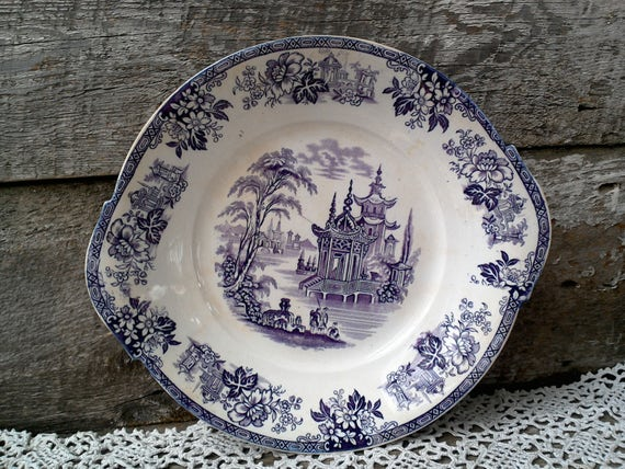 "Antique Purple Transferware Handled Plate, Cake Plate, 10"", Ironstone, Floral, 1800s, Mulberry, Plum Transferware, Display, Wall Decor"