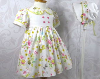 Easter Dress and Bonnet, Baby Girl, Size 12 months, Handmade, Whimsical Print, Dragonflies, Snails, Butterflies, Flowers, Ready to Ship