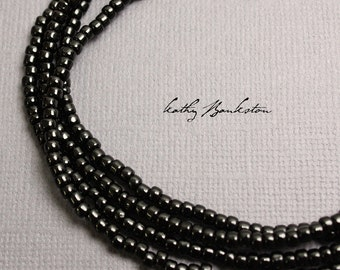 Black Seed Bead Necklace, Long Black Seed Bead Necklace, Black Layering Necklaces, Simple Black Necklaces w/Sterling Clasp, Kathy Bankston