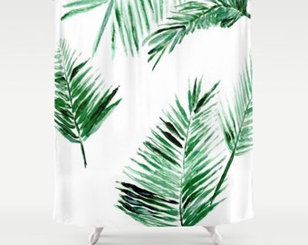 Hanging Plant Shower Curtain botanical shower green white