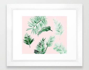 Pink Palm Leaf Print, palm leaf art, palm leaf print, leaf wall art, pink leaf print, pink leaf art, pink palm leaves, palm leaves print