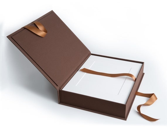 Brown Bundle 11x14 Linen Luxury Folio Box With 20 Acid