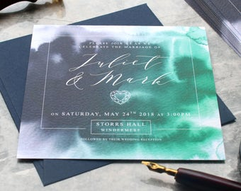 Navy and Green Watercolour Wedding Invitation, Geode Agate style
