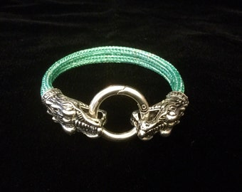 Viking knit  bracelet with dragon head clasp, viking weave bracelet, viking jewelry, Nordic jewelry, woven wire jewelry