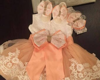 Baby girls' dress set | Adorable lace dress | Pink lace dress