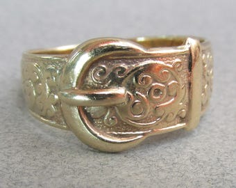 Antique Victorian English 9k Gold Buckle Ring
