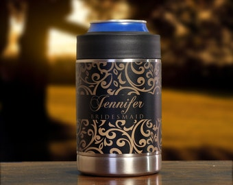 Personalized Bridesmaid Gifts, Can Coolers, Floral Wedding, Set of 5, Black, Gold