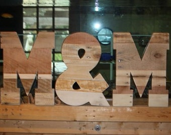 wooden letters and ampersand rustic wedding decor pallet wood letters reclaimed wood letters rustic home decor gift 16 x 12