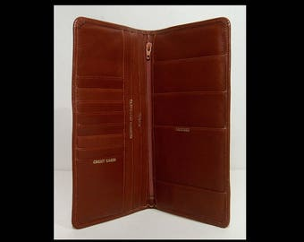 Deep brown leather travel wallet ~ passport airline flight ticket holder card case organizer ~ lots of compartments ~ 1970s ~ slim and roomy