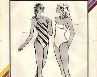 Stretch & Sew 1335 Misses' Retro 1970s One Shoulder and Tube Swimsuits Sewing Pattern