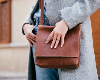 Brown Leather Crossbody Bag, Personalized Leather Bag, Crossbody Bag, Handmade Leather Bag With inside pocket - MINI Satchel // Mayko Basic