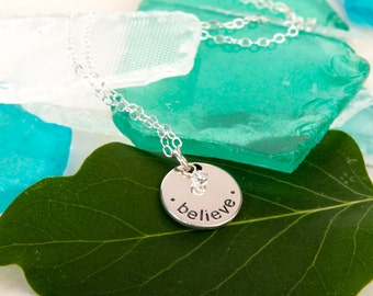 Sterling Silver Round Believe Engraved Pendant with Dainty Clear Crystal Drop Inspirational Message Charm