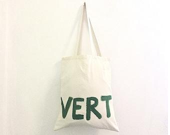 CUSTOM Green Vert Fun Quote French Word Organic Cotton Shoulder Tote Bag / Eve Damon