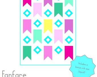 Fanfare Quilt Pattern - Includes bonus crib sized quilt!