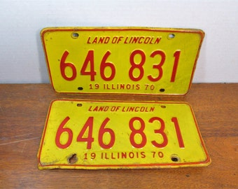 Illinois License Plate 1970 Set or Single Red and Yellow 646 831