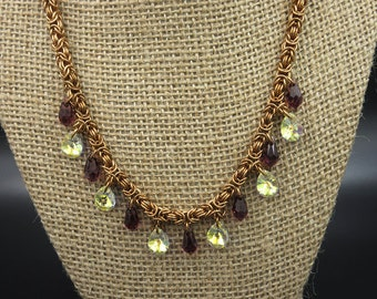 Bronze and Swarovski Chainmaille Necklace