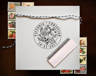 Wedding Date Stamp - Floral Save the Date Stamp - Wedding Stamp
