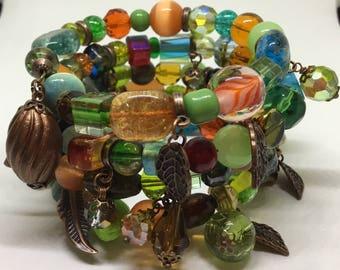 Boho Earthy Spring Shades Bracelet.
