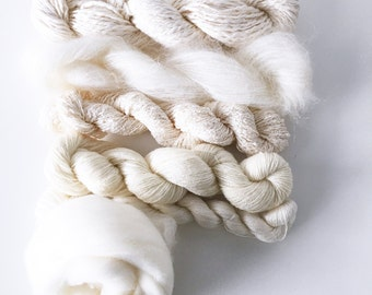 Weavers | Dyers Yarn Pack . Natural Undyed Yarns . Crochet Knitting Weaving Dyeing . Merino . Silk . Mohair . Lace . Boucle . Roving