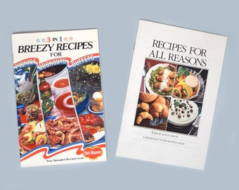 1985 Del Monte 3 in 1 Breezy  Recipes for Picnics, Cookouts, Buffets and 1985 Carnation Evaporated Milk Recipes for All Reasons