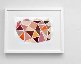 Original painting, Triangles art, Original watercolor painting red, Abstract little painting, Geometric art, Pink, Brown
