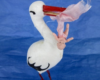 Vintage Spun Cotton Stork with Baby, Mid Century Kitch
