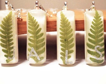 Pressed Flower Resin Jewelry Real Fern Pendant Personalized Necklace Silver Plated Chain Botanical Jewelry