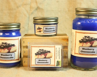Blueberry Cheesecake Scented Candle, Blueberry Cheesecake Scented Wax Tarts, 26 oz, 12 oz, 4 oz Jar Candles or 3.5 Clam Shell Wax Melts
